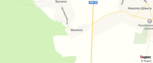 Карта деревни Филино в Костромской области с улицами и номерами домов