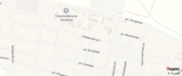 Северная улица на карте Калиновской станицы Чечни с номерами домов