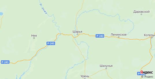 Карта Шарьинского района Костромской области с городами и населенными пунктами