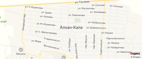 Карта села Алхан-Кала в Чечне с улицами и номерами домов