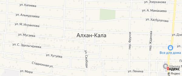 Шоссейный переулок на карте села Алхан-Кала с номерами домов