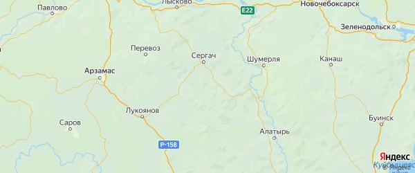 Карта Краснооктябрьского района Нижегородской области с городами и населенными пунктами