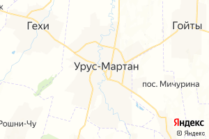 Карта г. Урус-Мартан Чеченская Республика