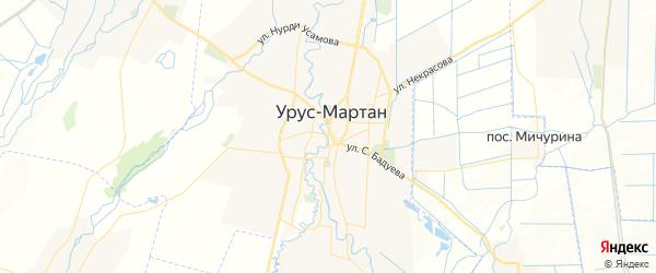 Карта Урус-мартана в Чечне с улицами и номерами домов