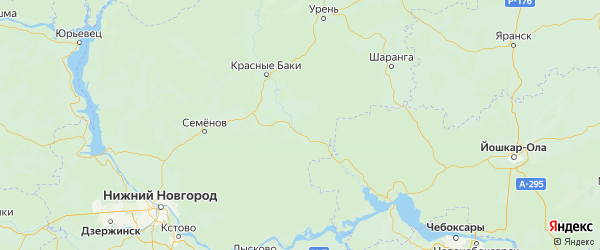 Карта Воскресенского района Нижегородской области с городами и населенными пунктами