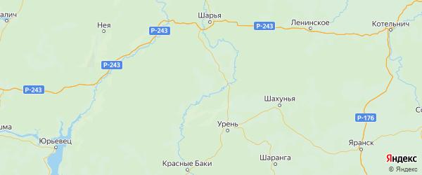 Карта Ветлужского района Нижегородской области с городами и населенными пунктами