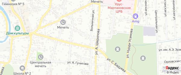 Больничная улица на карте Урус-мартана Чечни с номерами домов