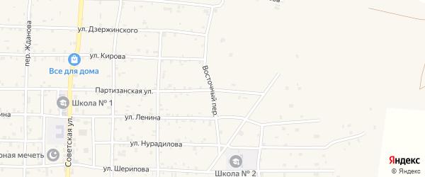 Восточный переулок на карте села Алхан-Кала с номерами домов