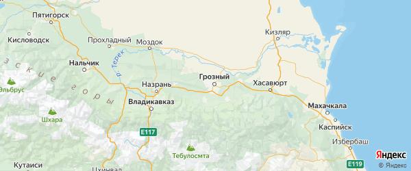 Карта Грозненского района республики Чечня с городами и населенными пунктами