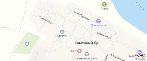 Улица М.Джалиля на карте села Каменного Яра Астраханской области с номерами домов