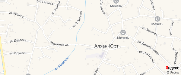 Улица Н.Сагаева на карте села Алхан-Юрт с номерами домов