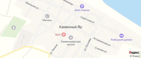 Лесная улица на карте села Каменного Яра Астраханской области с номерами домов