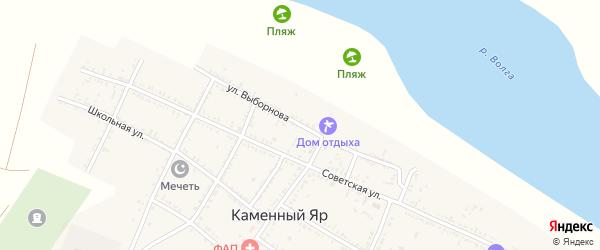 Улица Выборнова на карте села Каменного Яра Астраханской области с номерами домов