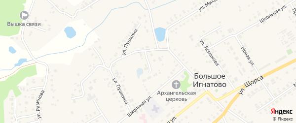 Октябрьская улица на карте села Большое Игнатово Мордовии с номерами домов
