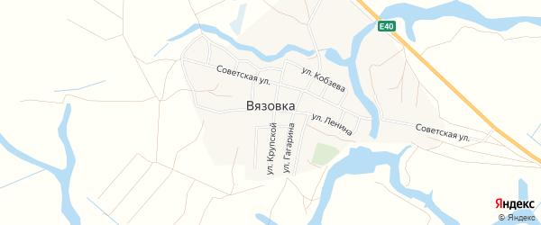 Территория производственная точка Максимово-1 на карте села Вязовки Астраханской области с номерами домов
