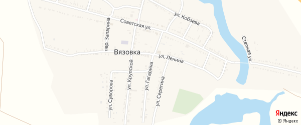 Улица Гагарина на карте села Вязовки Астраханской области с номерами домов