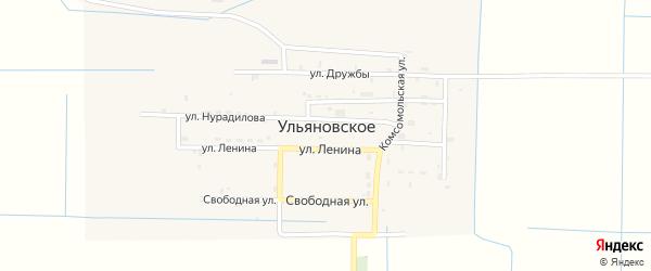 Комсомольская улица на карте Ульяновского села Чечни с номерами домов