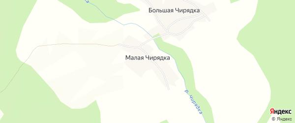 Карта деревни Малой Чирядки в Вологодской области с улицами и номерами домов