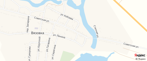 Советская улица на карте села Вязовки Астраханской области с номерами домов