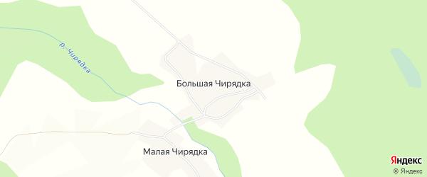 Карта деревни Большей Чирядки в Вологодской области с улицами и номерами домов