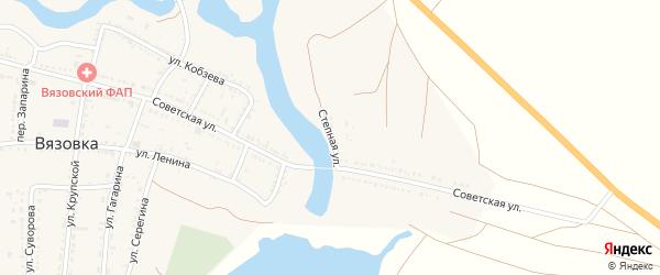Степная улица на карте села Вязовки Астраханской области с номерами домов