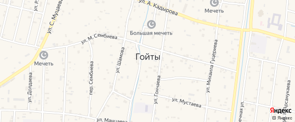 Молодежная улица на карте села Гойты Чечни с номерами домов