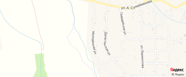 Молодежная улица на карте села Алхазурово Чечни с номерами домов