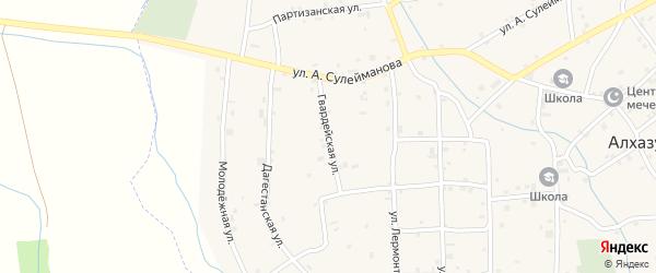 Гвардейская улица на карте села Алхазурово с номерами домов