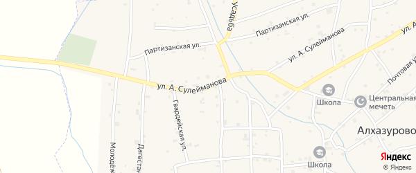 Улица А.Сулейманова на карте села Алхазурово Чечни с номерами домов