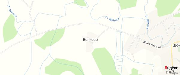 Карта деревни Волково в Вологодской области с улицами и номерами домов