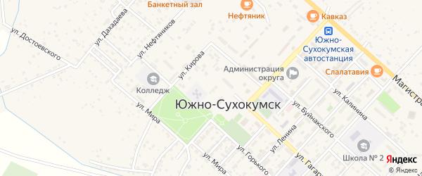 Улица Малогусейнова на карте Южно-Сухокумска с номерами домов