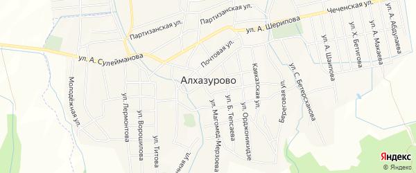 Карта села Алхазурово в Чечне с улицами и номерами домов