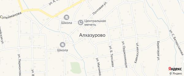 Улица Кунта Хаджи Кишиева на карте села Алхазурово с номерами домов