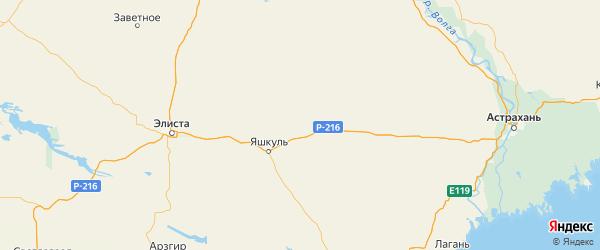 Карта Яшкульского района Республики Калмыкии с городами и населенными пунктами