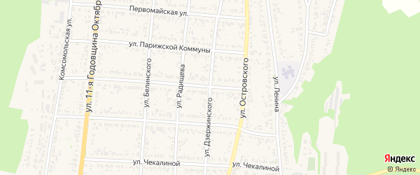 Улица Дзержинского на карте Сурска с номерами домов