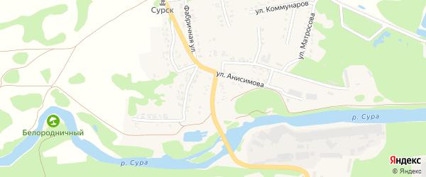 Засурская улица на карте Сурска с номерами домов
