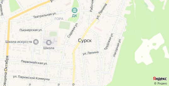 Крупская улица в Сурске с номерами домов на карте. Спутник и схема онлайн
