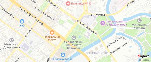 Тенистый переулок на карте Грозного с номерами домов