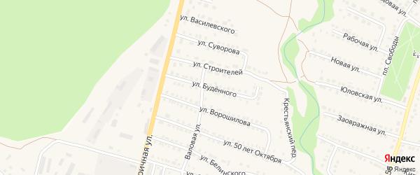Улица Буденного на карте Городища с номерами домов