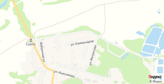 Улица Коммунаров в Сурске с номерами домов на карте. Спутник и схема онлайн