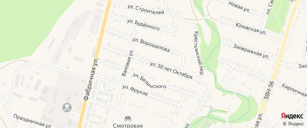 Улица 50 лет Октября на карте Городища с номерами домов