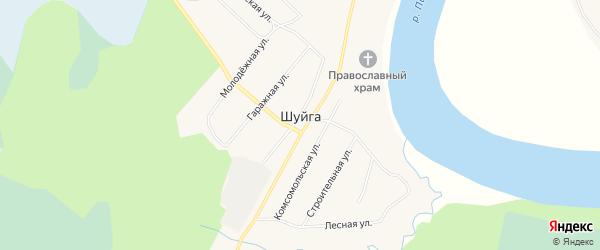 Карта поселка Шуйги в Архангельской области с улицами и номерами домов