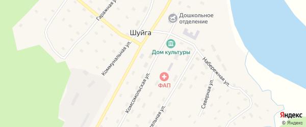 Молодежная улица на карте поселка Шуйги Архангельской области с номерами домов