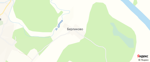 Карта деревни Берликово в Вологодской области с улицами и номерами домов