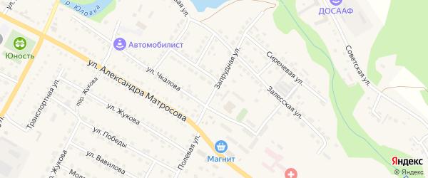 Запрудная улица на карте Городища с номерами домов