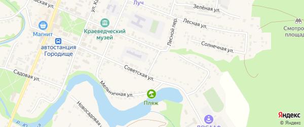 Улица Банникова на карте Городища с номерами домов