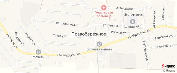 Кирпичная улица на карте Правобережного села Чечни с номерами домов