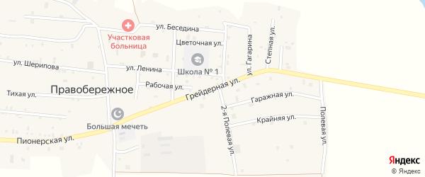 Грейдерная улица на карте Правобережного села Чечни с номерами домов