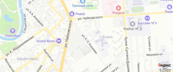 Узкоколейный переулок на карте Грозного с номерами домов
