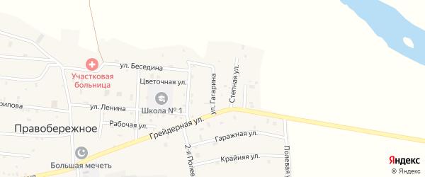 Улица Гагарина на карте Правобережного села Чечни с номерами домов